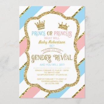 Gender Reveal Invite, Prince, Princess, Faux Gold Invitation