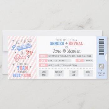 Gender Reveal Sports Ticket Invitation