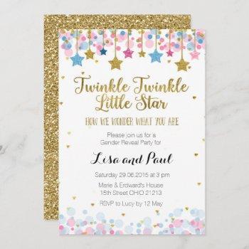 Gender Reveal Twinkle Twinkle Little Star Invitation