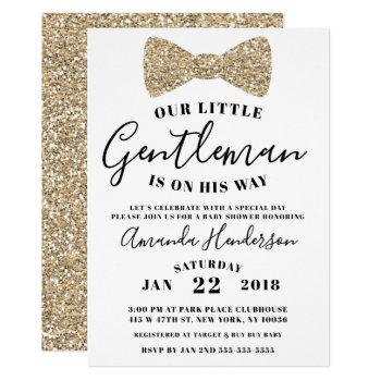 Gentleman Baby Shower Invitation, Faux Gold Invitation