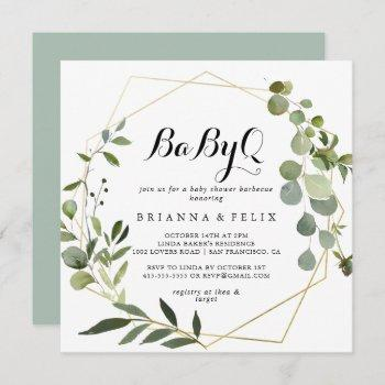 Geometric Gold Tropical Babyq Baby Shower Barbecue Invitation