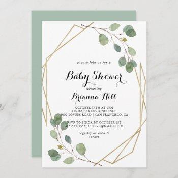 Geometric Greenery Eucalyptus Foliage Baby Shower Invitation
