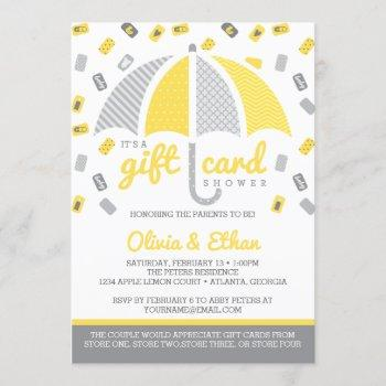 Gift Card Baby Shower Invitation, Yellow And Gray
