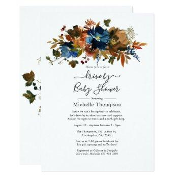 Ginger And Navy Floral Drive By Shower Invitation