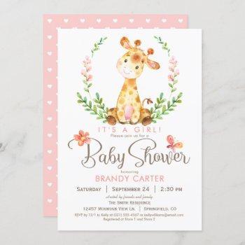 Giraffe Baby Shower, Girl Invitation