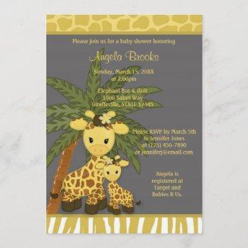 Giraffe Baby Shower Invitation Mommy Gray Yellow