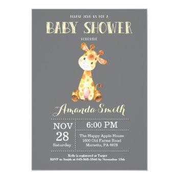 Giraffe Baby Shower Invitation Yellow And Gray