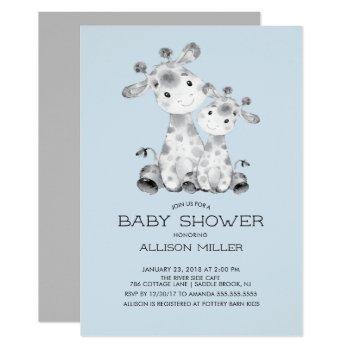 Giraffe Boys Baby Shower Invitation
