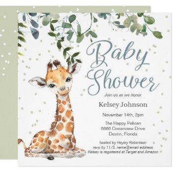 Giraffe Eucalyptus Greenery Baby Shower Invitation