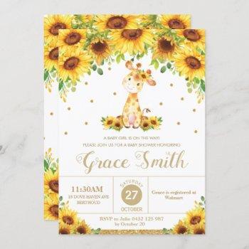 Giraffe Sunflower Floral Baby Shower Girl