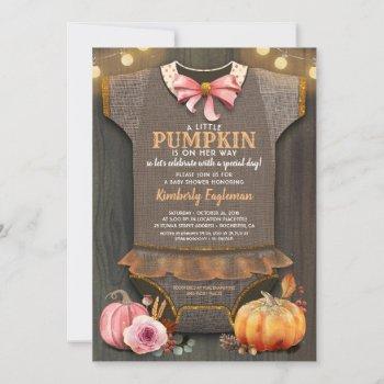 Girl Baby Shower Fall Pumpkin Rustic Burlap Wood