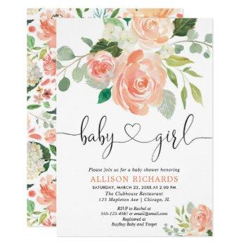 Girl Baby Shower Floral Watercolors Peach Greenery Invitation