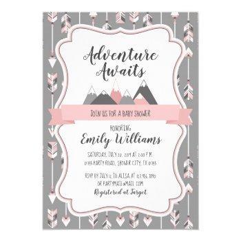 Girl Baby Shower Invitation Adventure Awaits