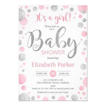 Girl Baby Shower Invitation - Pink Silver Dots