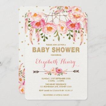 Girl Baby Shower Invite Pink Gold Boho Flowers