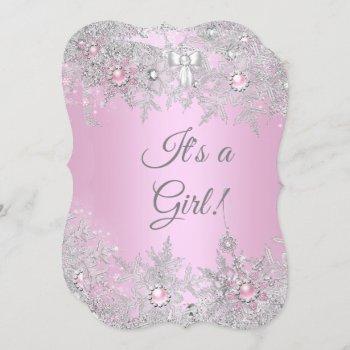 Girl Baby Shower Pink Winter Wonderland