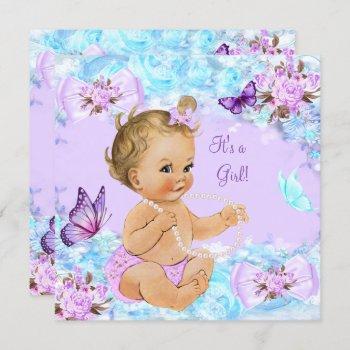 Girl Baby Shower Teal Purple Butterfly Blonde