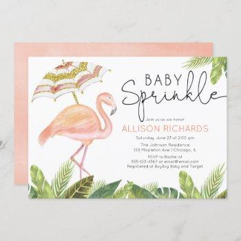 Girl Baby Sprinkle Flamingo Pink Gold Shower Invitation