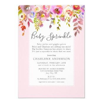Girl Baby Sprinkle Invite, Pink Floral Invitation