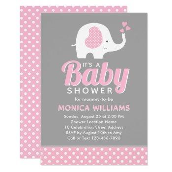Girl - Cute Pink Gray Elephant Baby Shower Invitation