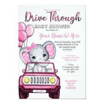 Girl Drive Through Baby Shower Elephant In Car Invitation