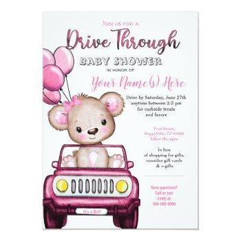 Girl Drive Through Baby Shower Teddy Bear Invitation