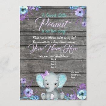 Girl Elephant Baby Shower , Rustic, Teal