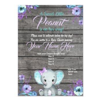 Girl Elephant Baby Shower Invitation, Rustic, Teal Invitation