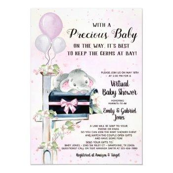 Girl Elephant Covid Baby Shower By Mail Invitation