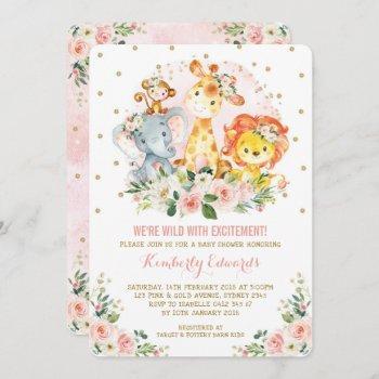 Girl Jungle Baby Shower Blush Pink Gold Floral Invitation
