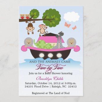 Girl Noah's Ark Sets Sail Baby Shower Invitation