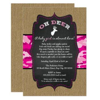 Girl Oh Deer Buck Baby Sprinkle With Camo Invitation