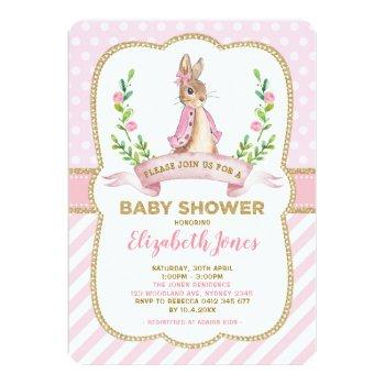 Girl Pink Gold Floral Bunny Rabbit Baby Shower Invitation