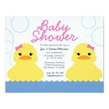 Girl Rubber Ducky Twin Baby Shower Invitation