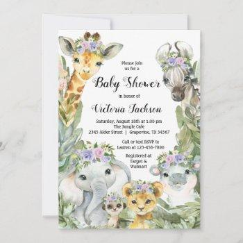 Girl Safari Baby Shower Purple Floral Invitation