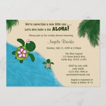 Girl Sea Turtle Baby Shower Invite Pink (honu) 01a