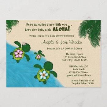 Girl Sea Turtle Baby Shower Invite Pink (honu) 01b