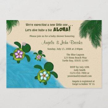 Girl Sea Turtle Baby Shower Invite Purp (honu) 04b