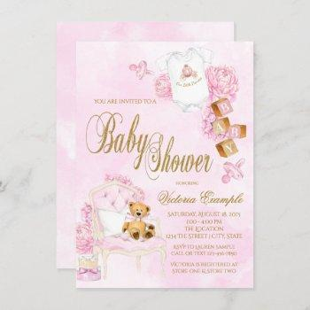Girl Watercolor Pink Gold Teddy Bear Baby Shower Invitation