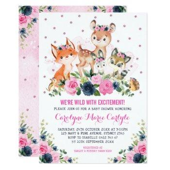 Girl Woodland Animals Navy Pink Floral Baby Shower Invitation