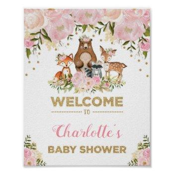 Girl Woodland Baby Shower Pink Floral Welcome Sign