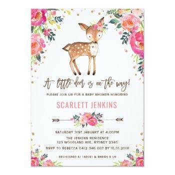 Girl Woodland Deer Baby Shower Invitation Floral