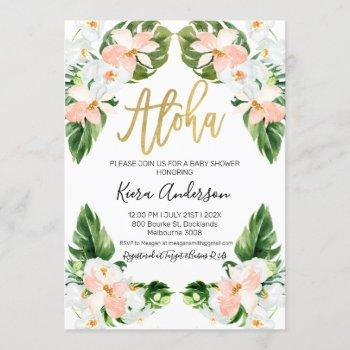 Girls Aloha Tropical Baby Shower Invitation