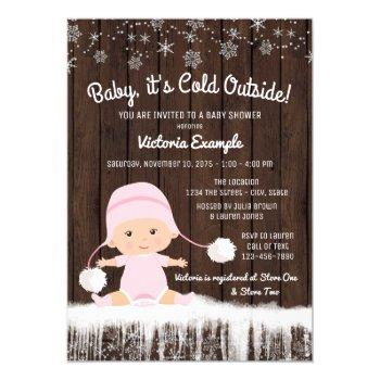 Girls Baby Its Cold Outside Winter Baby Shower Invitation
