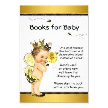 Girls Bee Bring A Book Baby Shower Inserts Invitation