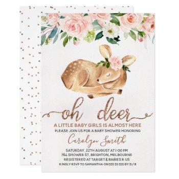 Girls Blush Floral Oh Deer Baby Shower Invitation