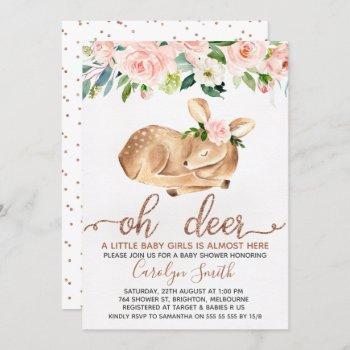 Girls Blush Floral Oh Deer Baby Shower Invitation