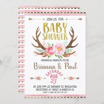 Girls Boho Floral Antlers Baby Shower Invitation