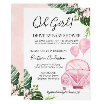 Girl's Drive By Parade Baby Baby Shower Invitation