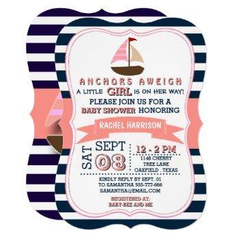 Girl's Nautical Boat Baby Shower Invitations